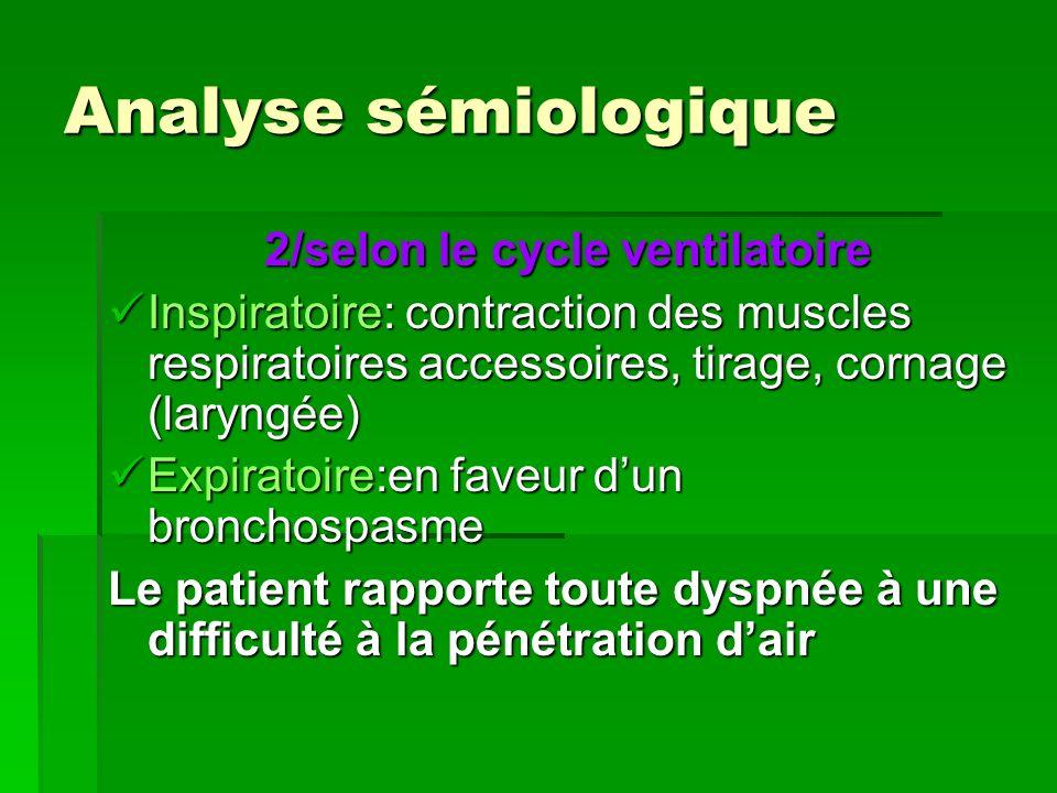 Analyse sémiologique 2/selon le cycle ventilatoire