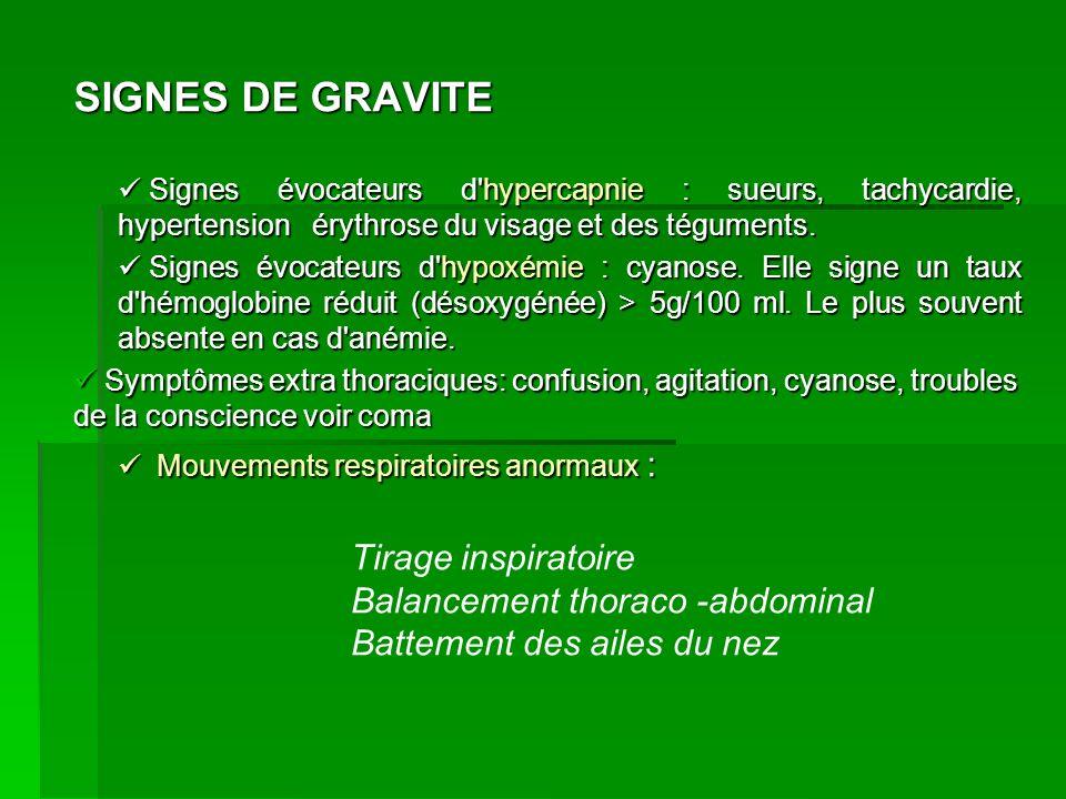 SIGNES DE GRAVITE Tirage inspiratoire Balancement thoraco -abdominal