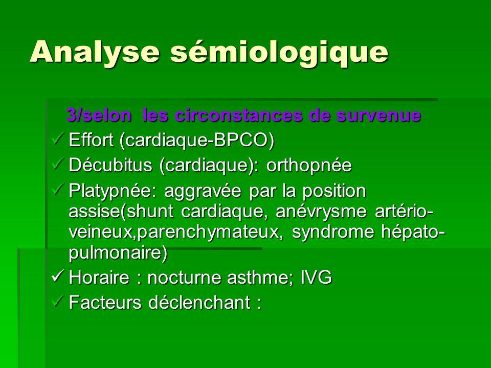 Analyse sémiologique 3/selon les circonstances de survenue