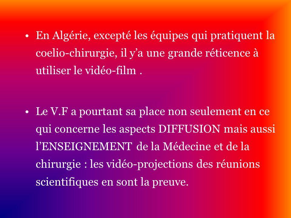 En Algérie, excepté les équipes qui pratiquent la coelio-chirurgie, il y'a une grande réticence à utiliser le vidéo-film .