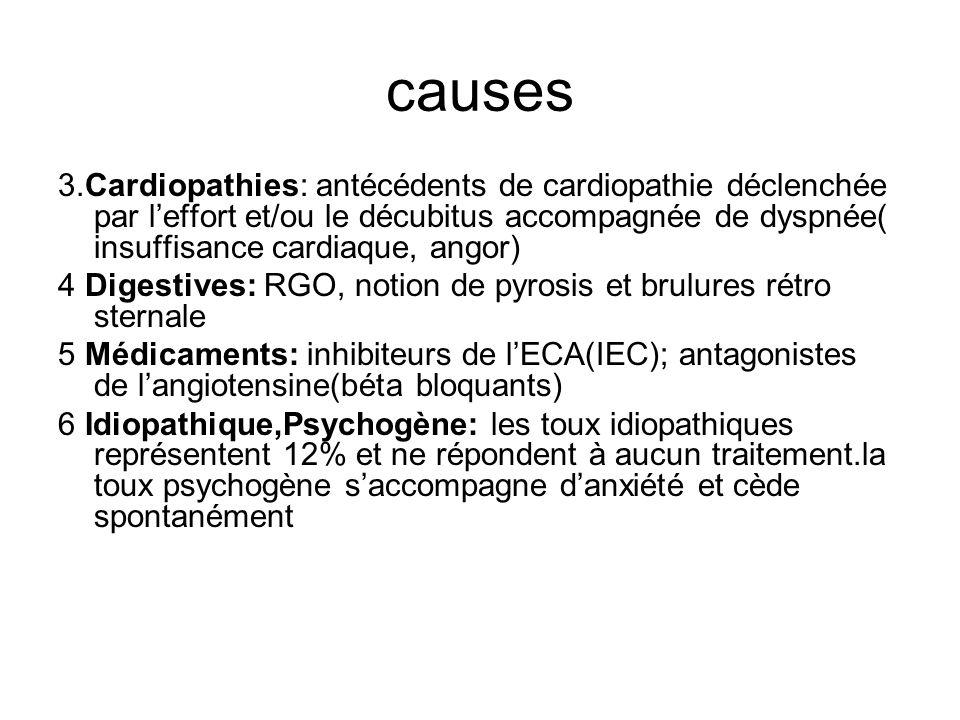 causes 3.Cardiopathies: antécédents de cardiopathie déclenchée par l'effort et/ou le décubitus accompagnée de dyspnée( insuffisance cardiaque, angor)