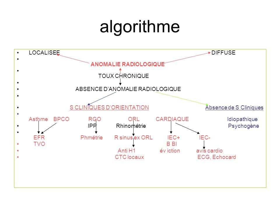 algorithme LOCALISEE DIFFUSE ANOMALIE RADIOLOGIQUE TOUX CHRONIQUE