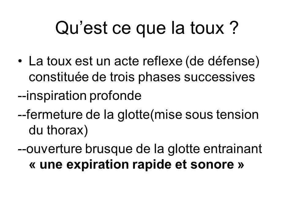 Qu'est ce que la toux La toux est un acte reflexe (de défense) constituée de trois phases successives.