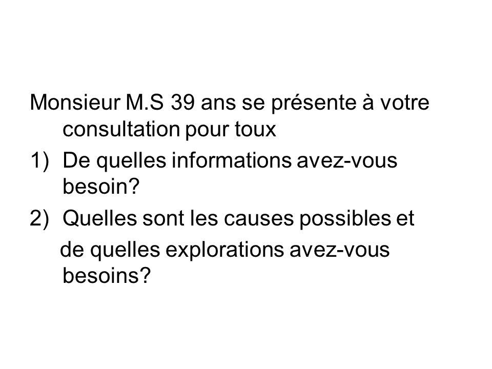 Monsieur M.S 39 ans se présente à votre consultation pour toux