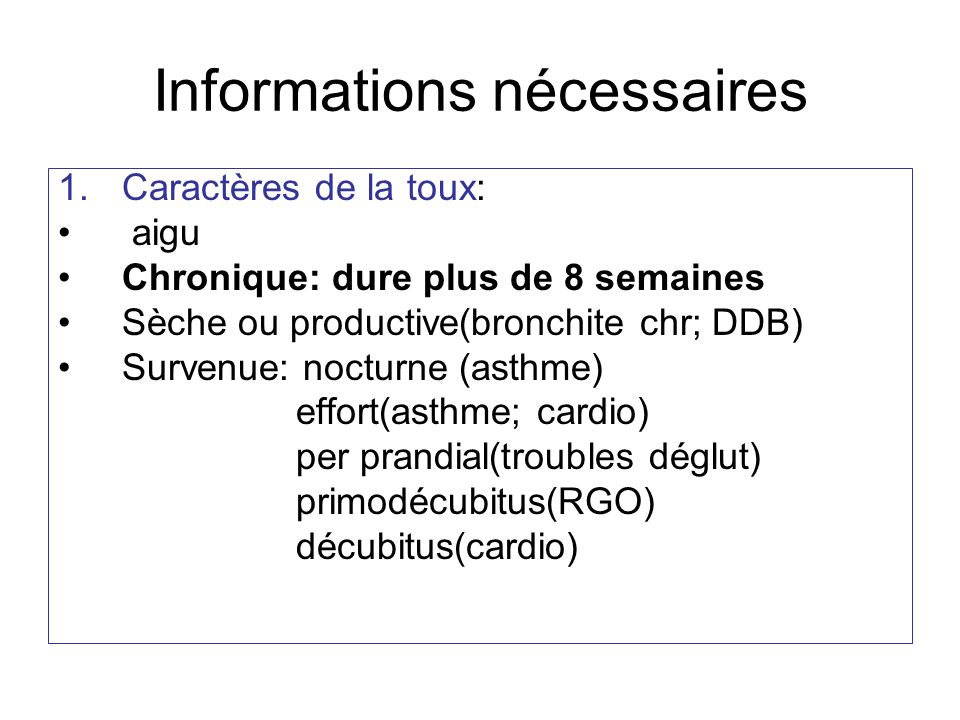 Informations nécessaires