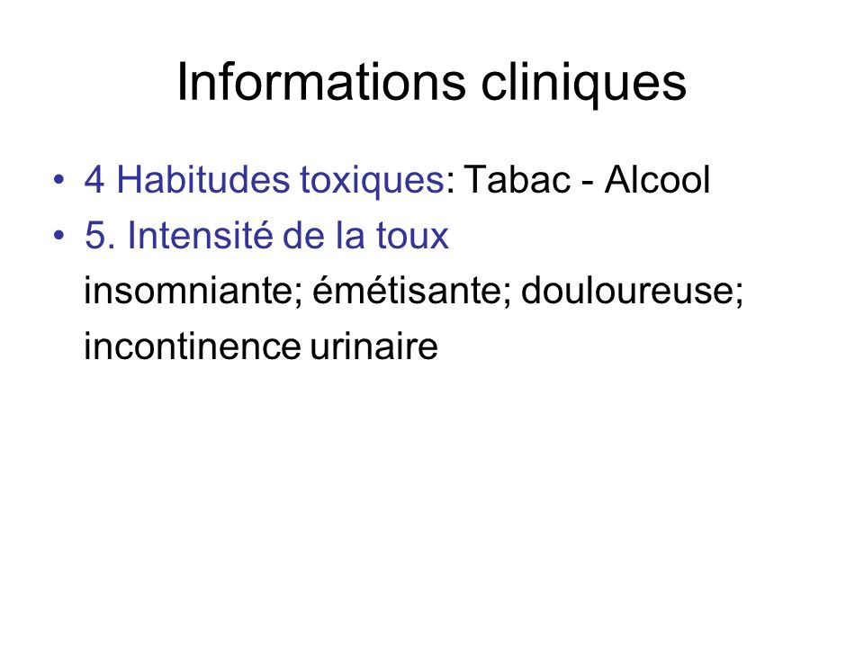 Informations cliniques