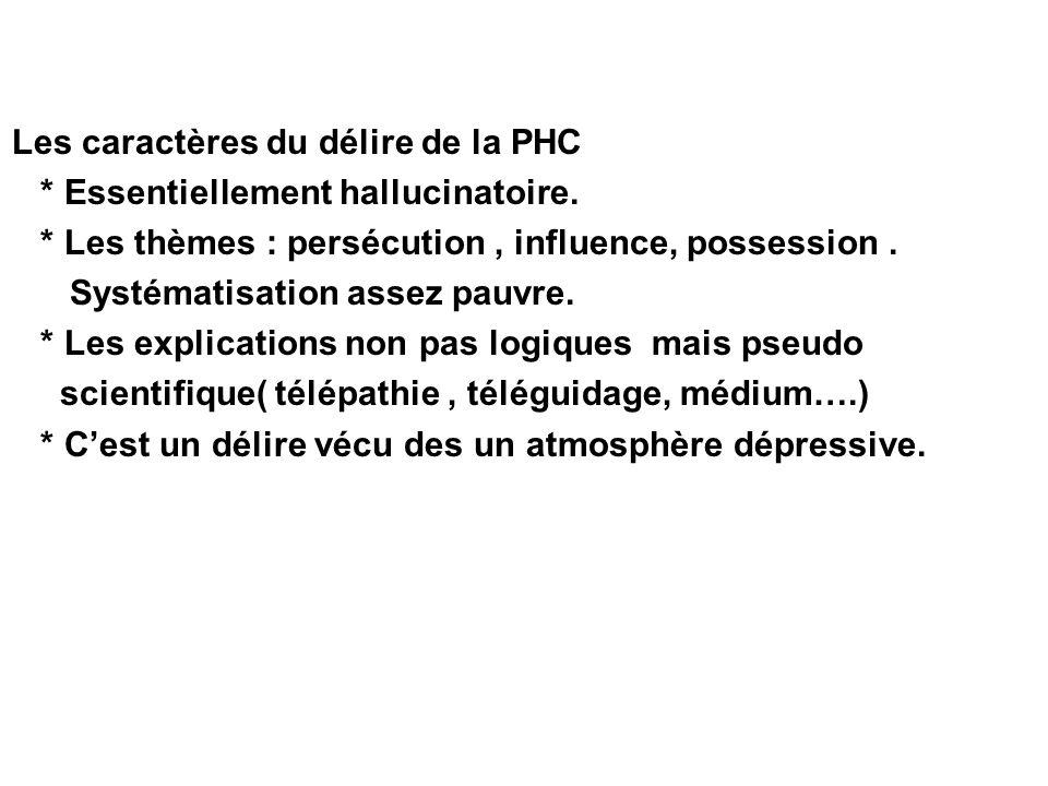 Les caractères du délire de la PHC