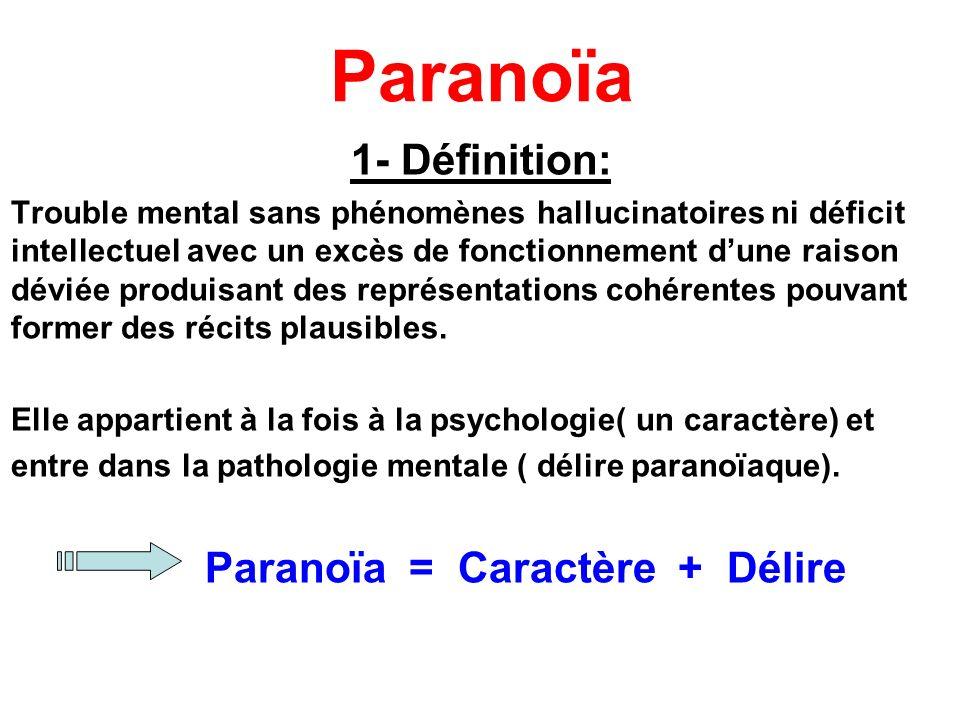 Paranoïa 1- Définition: