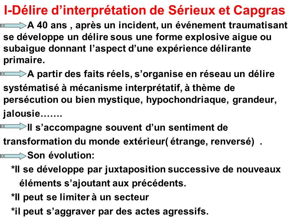 I-Délire d'interprétation de Sérieux et Capgras