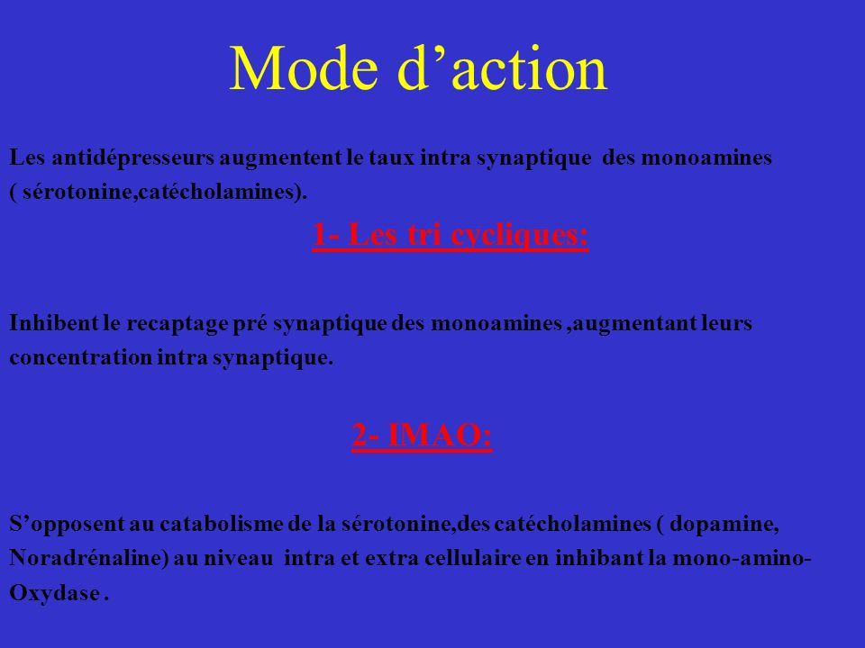 Mode d'action 1- Les tri cycliques: