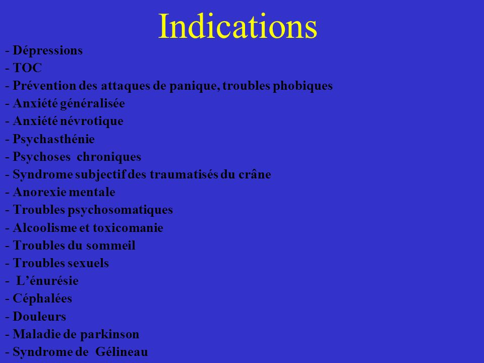 Indications - Dépressions - TOC