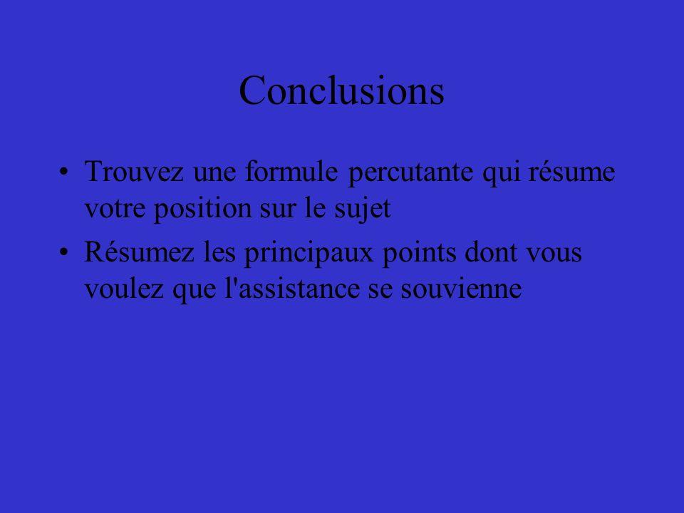Conclusions Trouvez une formule percutante qui résume votre position sur le sujet.