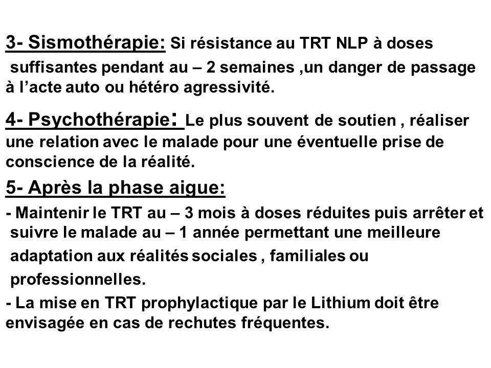 3- Sismothérapie: Si résistance au TRT NLP à doses
