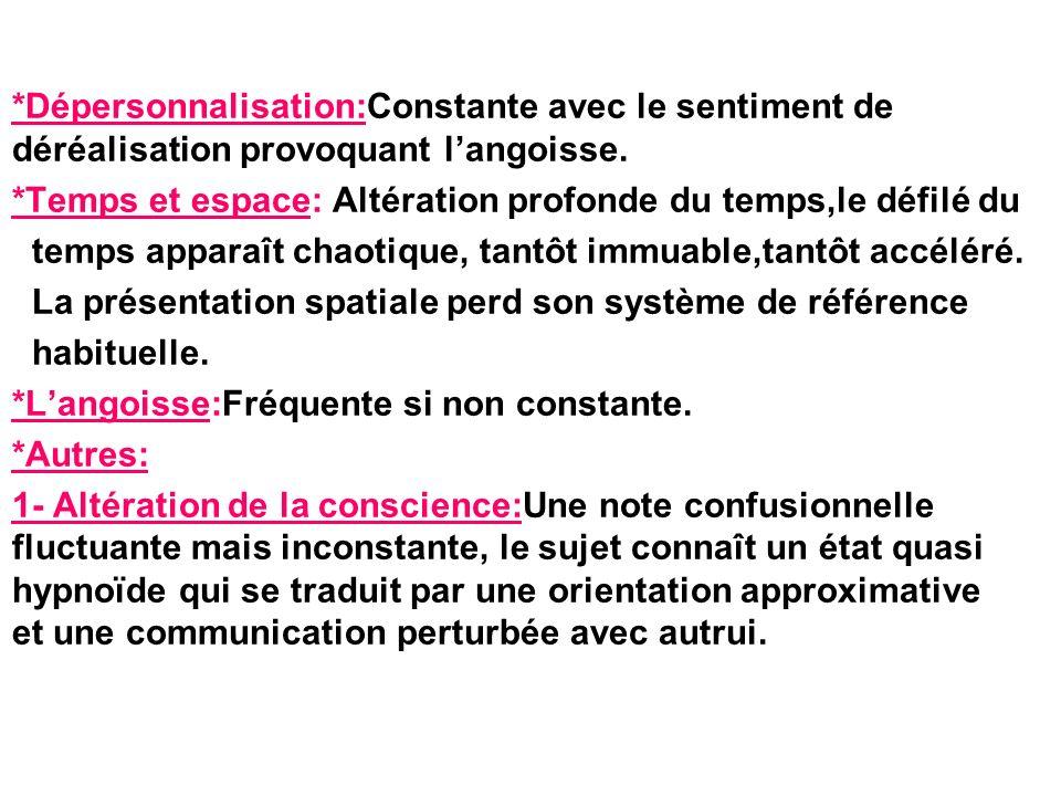 *Dépersonnalisation:Constante avec le sentiment de déréalisation provoquant l'angoisse.