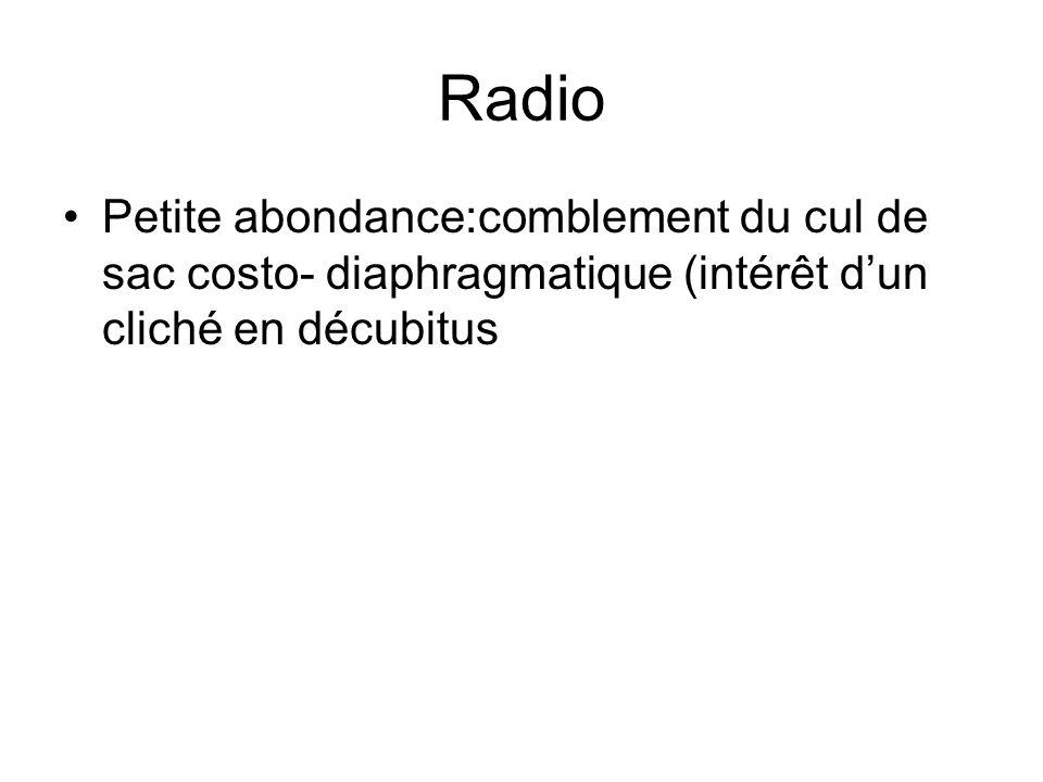 Radio Petite abondance:comblement du cul de sac costo- diaphragmatique (intérêt d'un cliché en décubitus.