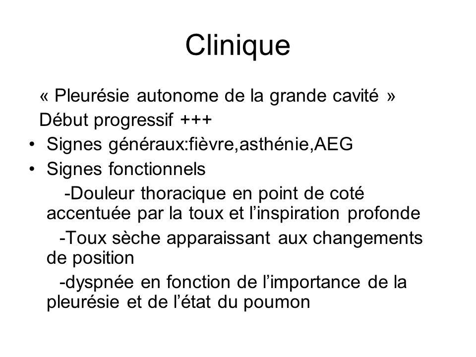 Clinique « Pleurésie autonome de la grande cavité »