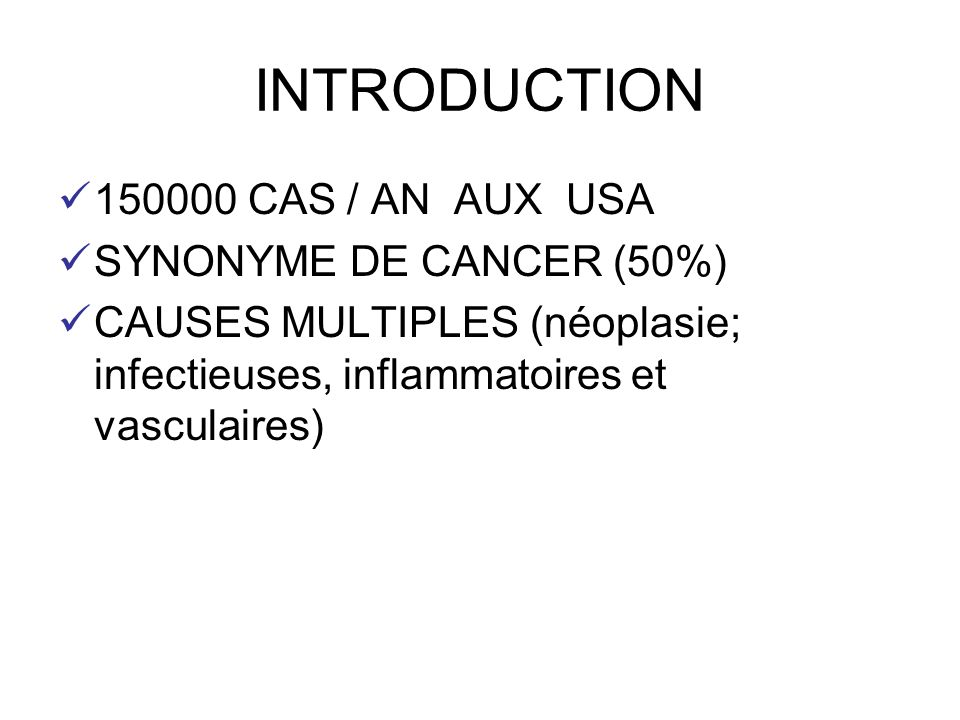 INTRODUCTION 150000 CAS / AN AUX USA SYNONYME DE CANCER (50%)