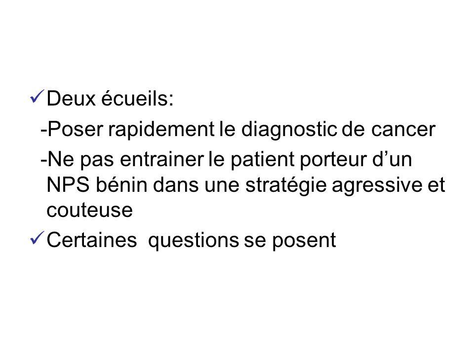 Deux écueils: -Poser rapidement le diagnostic de cancer.