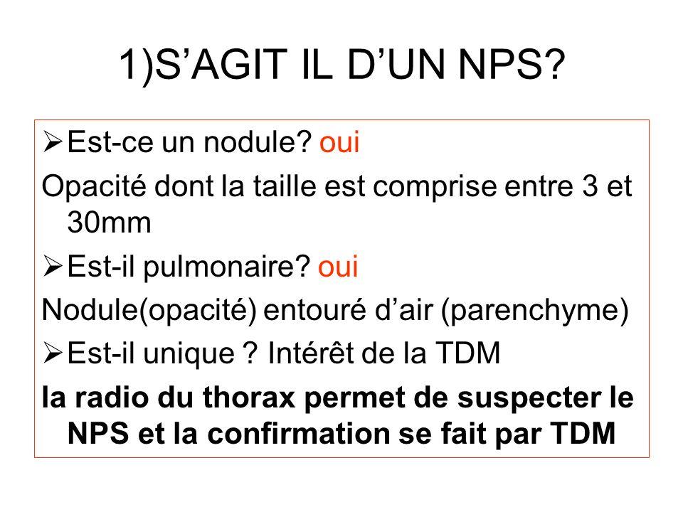 1)S'AGIT IL D'UN NPS Est-ce un nodule oui