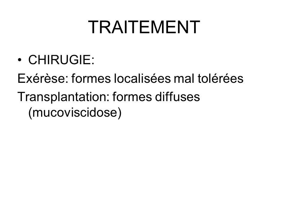TRAITEMENT CHIRUGIE: Exérèse: formes localisées mal tolérées