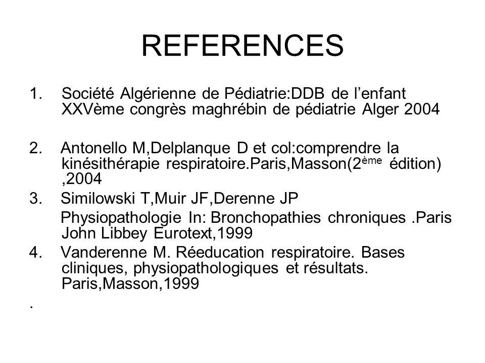 REFERENCES Société Algérienne de Pédiatrie:DDB de l'enfant XXVème congrès maghrébin de pédiatrie Alger 2004.