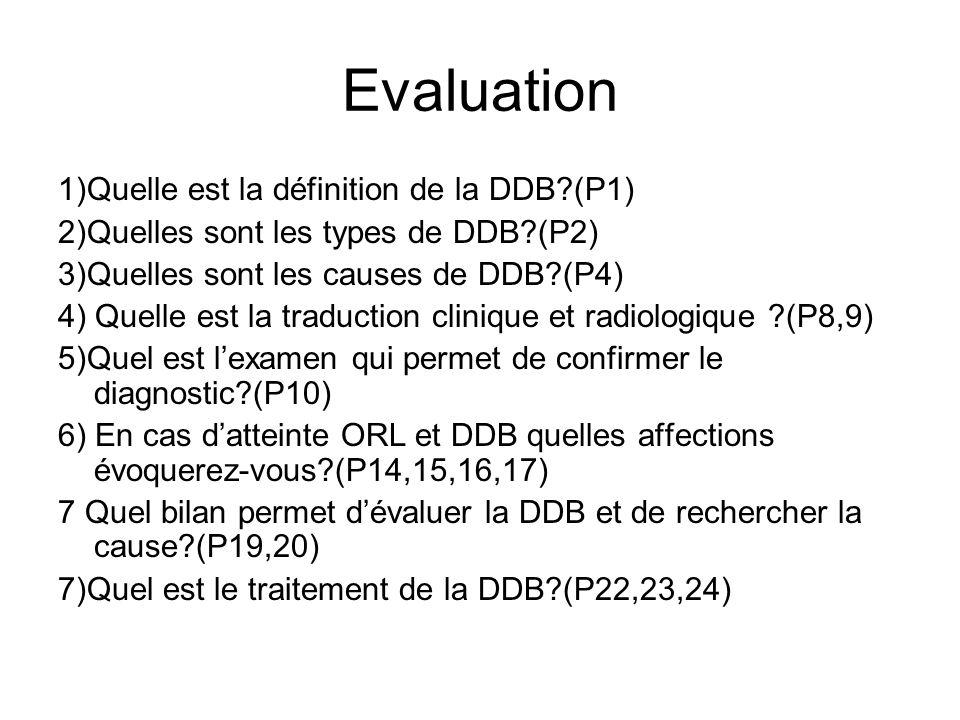 Evaluation 1)Quelle est la définition de la DDB (P1)