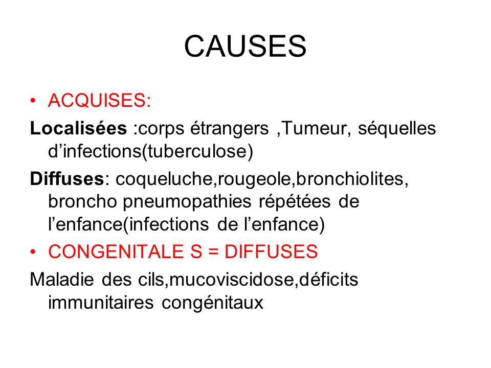 CAUSES ACQUISES: Localisées :corps étrangers ,Tumeur, séquelles d'infections(tuberculose)