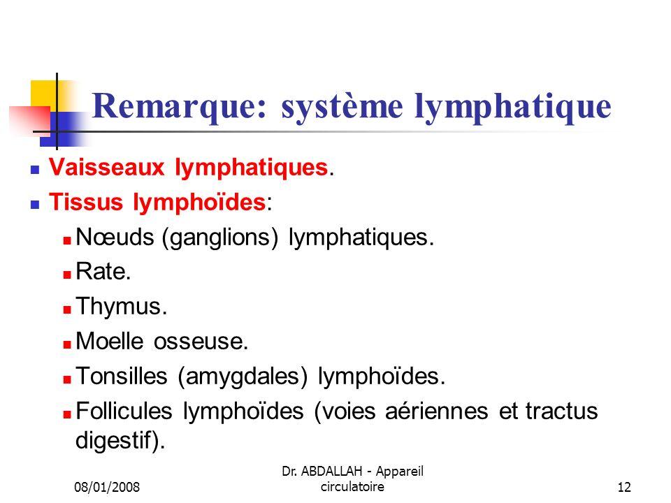 Remarque: système lymphatique
