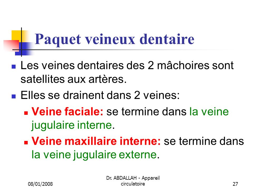 Paquet veineux dentaire
