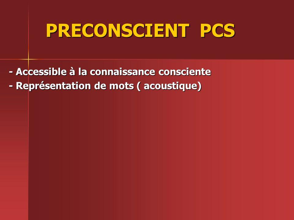 PRECONSCIENT PCS - Accessible à la connaissance consciente