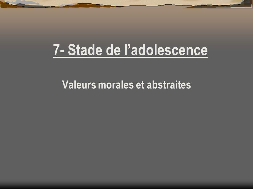 7- Stade de l'adolescence Valeurs morales et abstraites