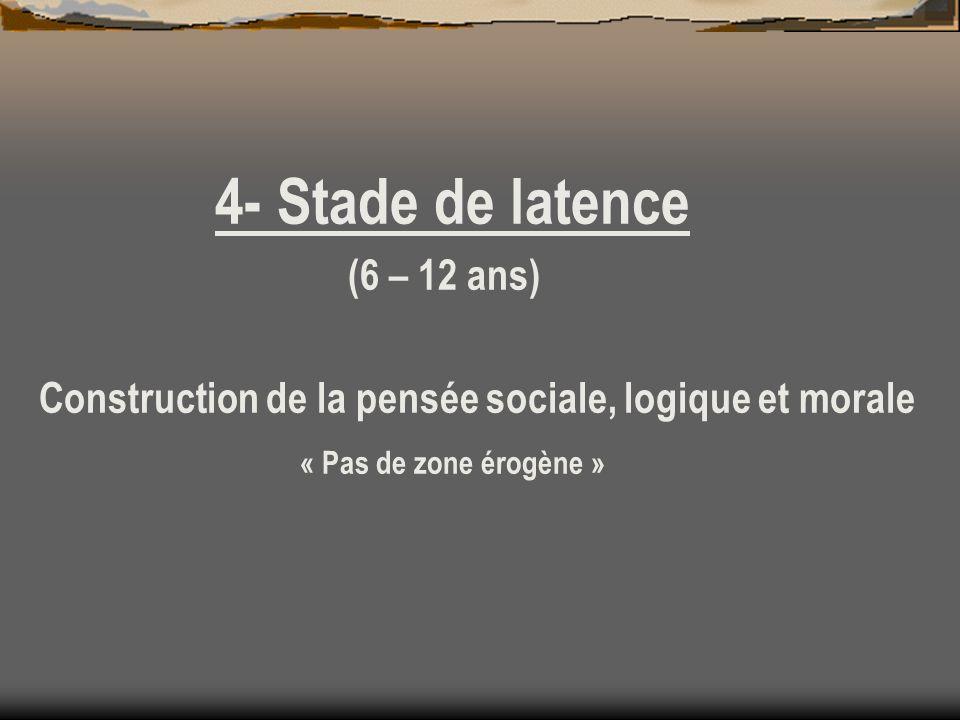 4- Stade de latence (6 – 12 ans)