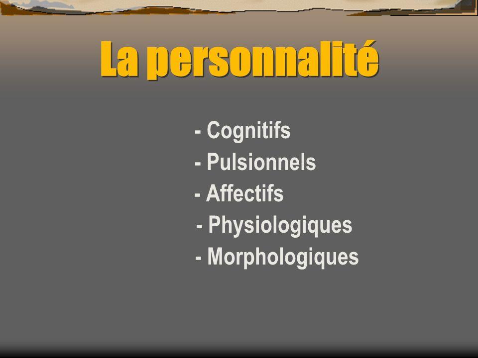 La personnalité - Pulsionnels - Affectifs - Physiologiques
