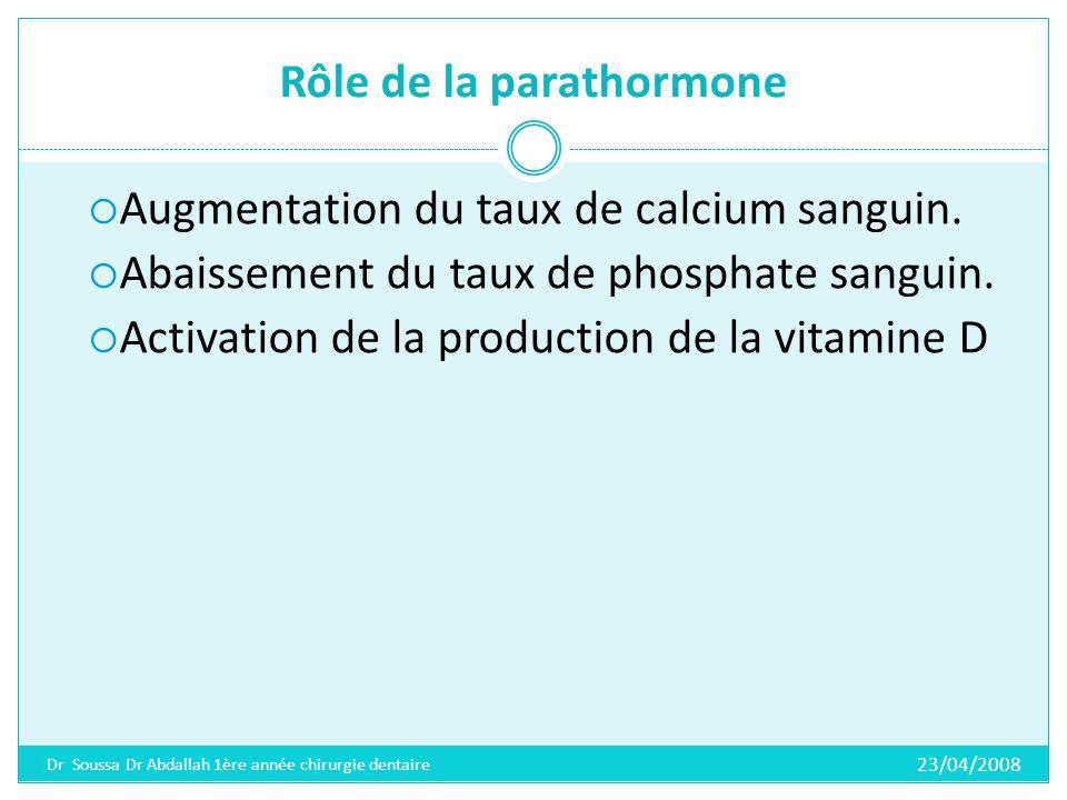 Rôle de la parathormone