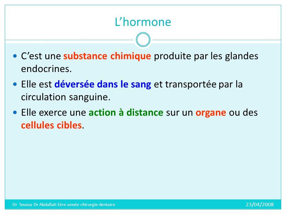 L'hormone C'est une substance chimique produite par les glandes endocrines.