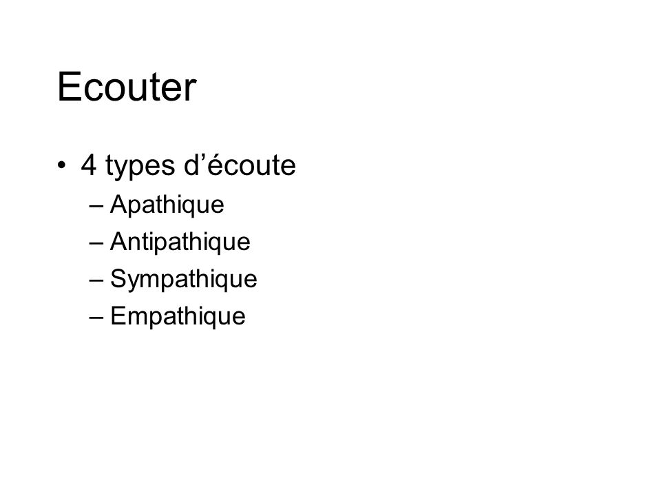 Ecouter 4 types d'écoute Apathique Antipathique Sympathique Empathique