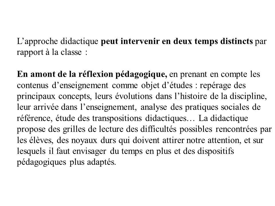 L'approche didactique peut intervenir en deux temps distincts par rapport à la classe :