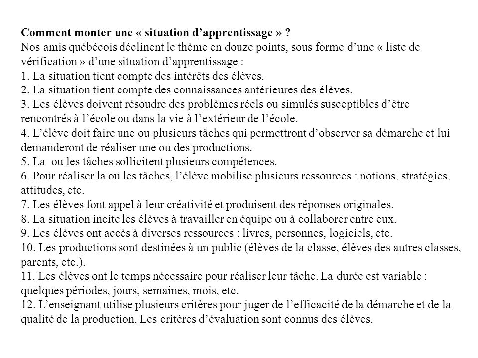 Comment monter une « situation d'apprentissage »