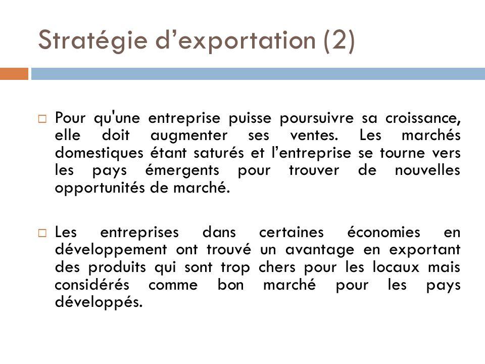 Stratégie d'exportation (2)