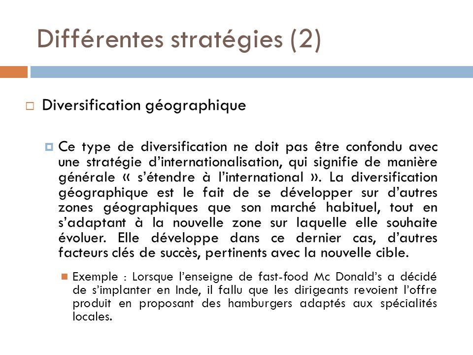 Différentes stratégies (2)