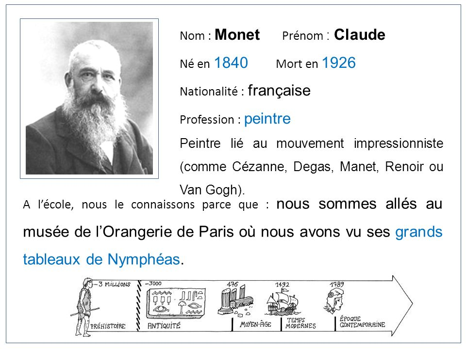 Nom : Monet Prénom : Claude