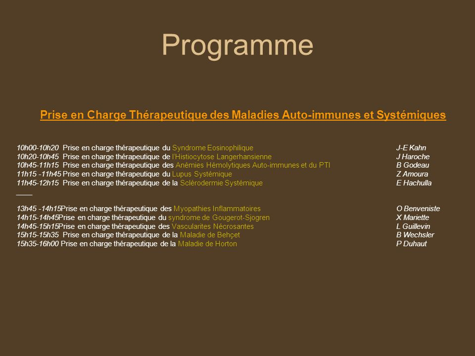 Prise en Charge Thérapeutique des Maladies Auto-immunes et Systémiques