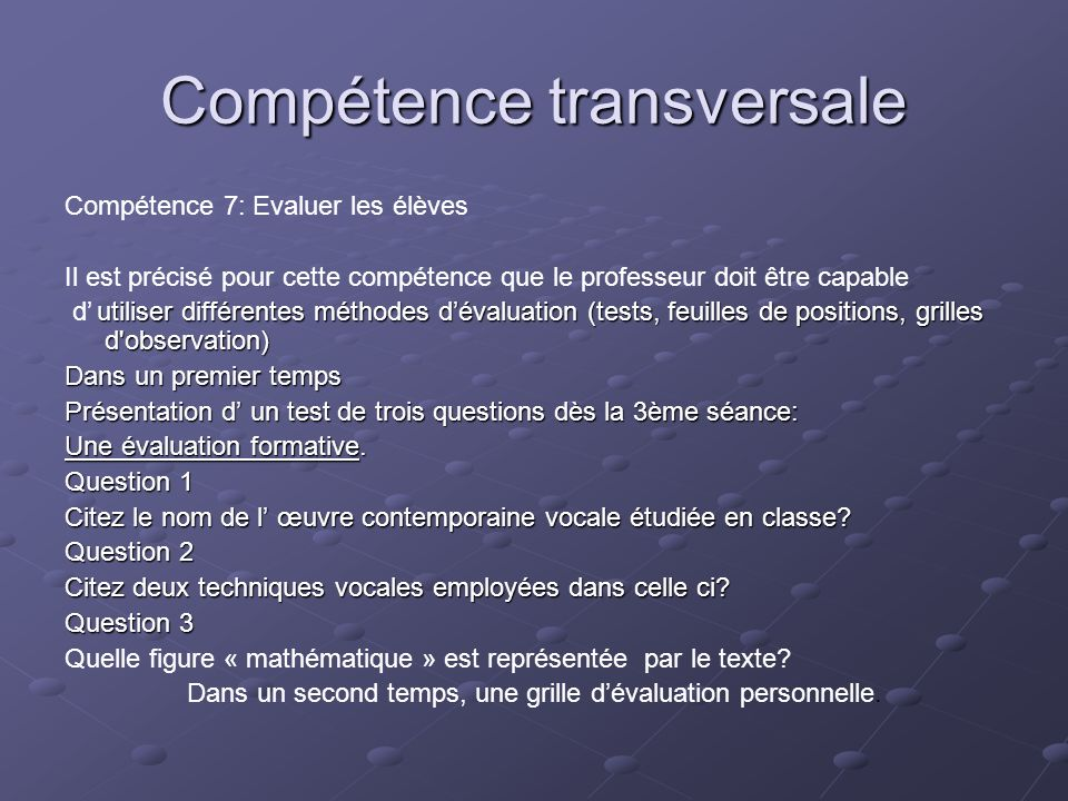 Compétence transversale