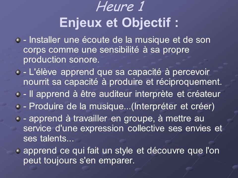 Heure 1 Enjeux et Objectif :