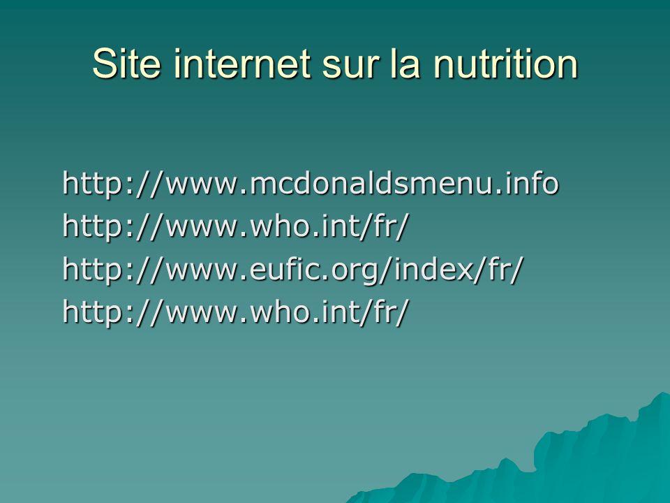 Site internet sur la nutrition
