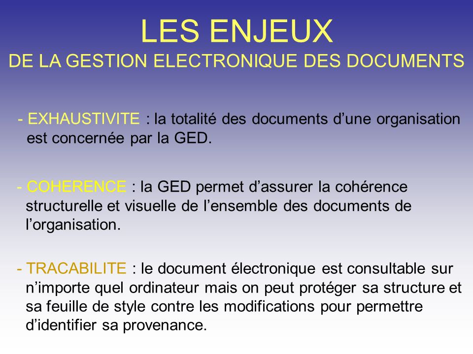 DE LA GESTION ELECTRONIQUE DES DOCUMENTS