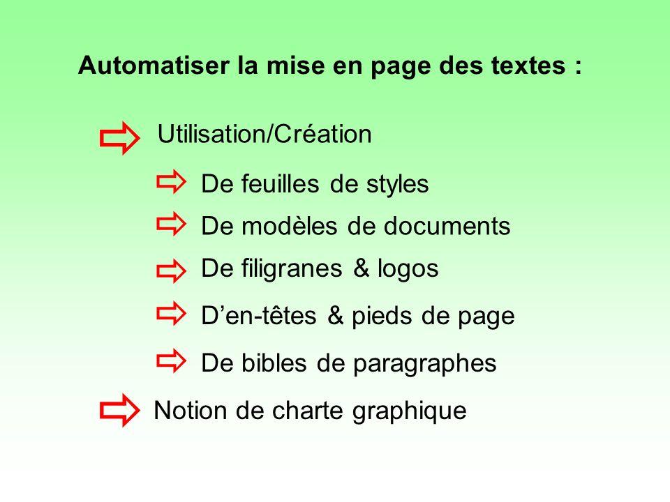        Automatiser la mise en page des textes :