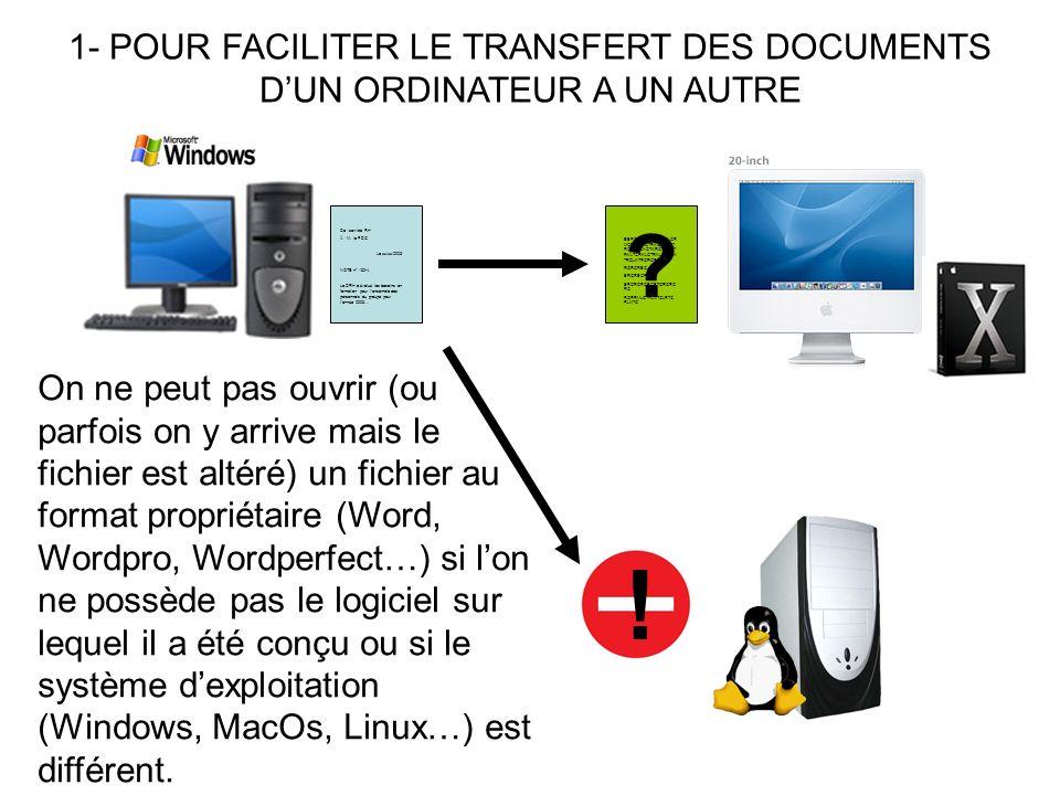 ! 1- POUR FACILITER LE TRANSFERT DES DOCUMENTS
