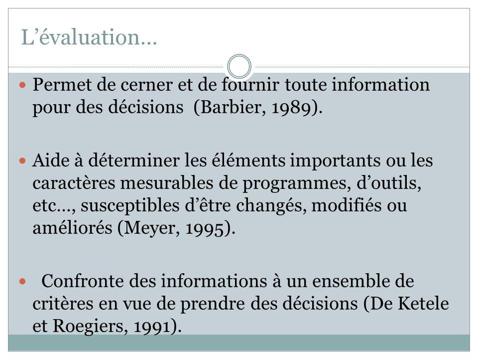 L'évaluation… Permet de cerner et de fournir toute information pour des décisions (Barbier, 1989).