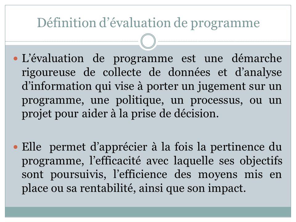 Définition d'évaluation de programme